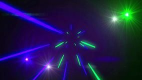 Seamless abstract motion changing colorful light shining sparking glowing and shooting beams element in disco or nightclub dance m