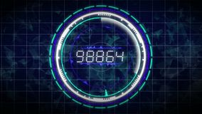 Seamless abstract motion number counter or music equalizer circle background interface with shining lights, sound waves geometric stock footage
