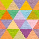 Seamless abstract multicolored triangles. Colored wooden board.  Royalty Free Stock Photo