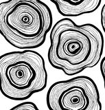 Seamless abstract pattern, artistic texture, drawn background with circles. Wood slice Royalty Free Stock Images