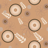 Seamless floral pattern. Seamless abstract pattern on a beige background. Vector illustration Stock Photos