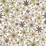 Seamless abstract pattern with beige and green flowers. Vector illustration. Stock Image