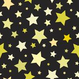 Seamless abstract pattern with big sharp yellow stars on black background. Vector Halloween illustration. Magic sky. Stardust background. Black and gold Stock Illustration