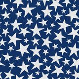 Seamless abstract pattern with big white hand drawn stars on dark blue background. shabby. Illustration. Night sky texture for paper, wrapping and fabric Stock Photo