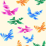 Seamless abstract pattern with birds, fishes and butterflies. Stock Image