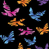 Seamless abstract pattern with birds, fishes and butterflies. Royalty Free Stock Photo