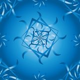 Seamless vector pattern with blue geometric flowers stock illustration