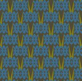 Seamless  abstract pattern: Blue turtles and grass Royalty Free Stock Photo