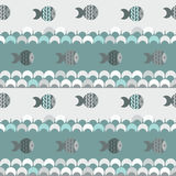 Seamless abstract pattern , blue waves and fish Royalty Free Stock Images