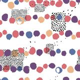 Seamless  abstract pattern with brush strokes circles. Hand-painted texture. Color brushstrokes on a white background. For p. Rinting on different subjects Stock Image