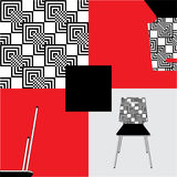 Seamless abstract pattern and a chair. In different squares of the chair,pattern, fragments of a picture of a chair stock illustration