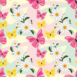Seamless abstract pattern with Chamomiles and Butt Royalty Free Stock Images