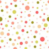 Seamless abstract pattern of circles of different colors and size on white background. Kaleidoscope. Background. Decorative wallpaper, good for printing. Vector stock illustration
