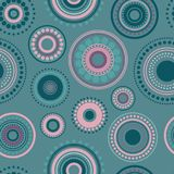 Seamless abstract pattern of circles and dots of blue and pink colors. Kaleidoscope background. Decorative wallpaper, good for printing. Vector illustration royalty free illustration
