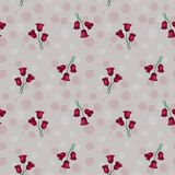 Seamless abstract pattern with circles and red tulips, illustrat. Seamless pink abstract pattern with circles and red tulips, illustrated royalty free illustration