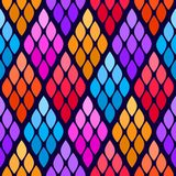 Seamless abstract pattern with colorful rhombuses. Vector illustration with leaves. Reptiles skin texture stock illustration