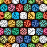 Seamless abstract pattern of colorful yarn balls, vector. Seamless abstract pattern of colorful yarn balls on black background, illustration of wool knitting Stock Photos