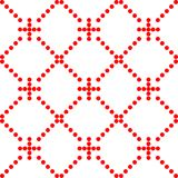 Seamless abstract pattern created from repetition of plus sign symbols. Funky geometric seamless pattern with red crosses, circles, mesh, grid, repeat tiles stock illustration