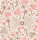 Seamless abstract pattern. Cute lace background with hearts, angel wings, lollipops, sugarplums and snowflakes Stock Photo