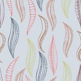Seamless abstract pattern with decorated waves. Vector nand drawn illustartion Royalty Free Stock Photos