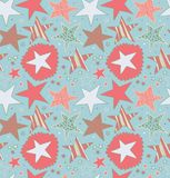 Seamless abstract pattern with drawn stars. Starry decorative background. Doodle cute texture. Royalty Free Stock Images
