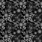 Seamless abstract Pattern with Flowers - black and white Design Royalty Free Stock Photos