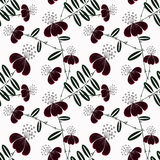 Seamless abstract pattern with flowers ornament  on black background Royalty Free Stock Photography