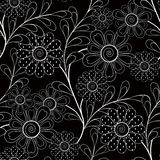 Seamless abstract pattern with flowers ornament on black background. Seamless abstract pattern with flowers ornament stylish texture on black background Royalty Free Illustration