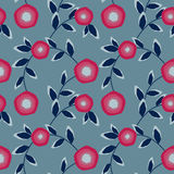 Seamless abstract pattern with flowers ornament  on light blue background Stock Photo