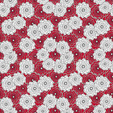 Seamless abstract pattern with flowers ornament  on  red background Royalty Free Stock Photo