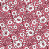 Seamless abstract pattern with flowers ornament  on red background Royalty Free Stock Photos