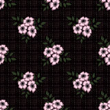 Seamless abstract pattern with flowers  ornament  texture  background. Seamless abstract pattern with flowers ornament stylish texture on black background Stock Images