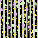 Seamless abstract pattern with flowers  ornament  texture  background. Seamless abstract pattern with flowers ornament stylish texture on black background stripe Royalty Free Stock Photos