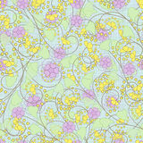 Seamless abstract pattern with flowers  ornament  texture  background. Seamless abstract pattern with flowers ornament stylish texture on light blue background Royalty Free Stock Photography