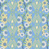 Seamless abstract pattern with flowers ornament texture background. Seamless abstract pattern with flowers ornament stylish texture onlight blue background royalty free illustration