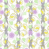 Seamless abstract pattern with flowers  ornament  texture  background Royalty Free Stock Photography