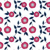 Seamless abstract pattern with flowers ornament  on white background Royalty Free Stock Photo