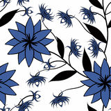 Seamless abstract pattern with flowers. In rim ornament stylish texture on white background Royalty Free Stock Images
