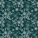 Seamless abstract Pattern with Flowers - white Ornament on green Background. For Design royalty free illustration