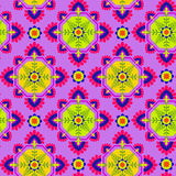 Seamless  abstract pattern. Seamless folk pattern, floral detailed decorations, diamond rhombus shape, pop colors. Latin Spanish ceramics style. ethnic print for Royalty Free Stock Photography