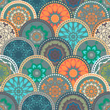 Seamless abstract pattern frame of trendy colored. Floral flower tile circles. For wallpaper, surface textures, textile. Summer-Autumn Design. India, Islam Stock Photos