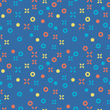 Seamless abstract pattern. Geometric background with light red, blue and yellow crosses and circles. Vector illustration. Vector Illustration