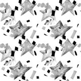 Seamless abstract pattern with geometric shapes. Hand drawn illustration. royalty free illustration