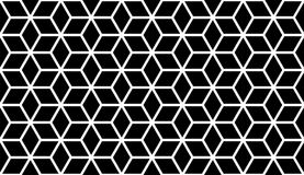 Abstract geometric pattern with lines, cubes, hexagons, rhombus. Seamless vector background. Tattoo pattern. Black and white latti. Seamless abstract pattern Royalty Free Stock Photo