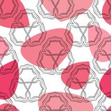 Seamless abstract pattern with geometrical elements and pink spots. Royalty Free Stock Image