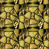 Seamless abstract pattern of gold stones and crystals Stock Photo
