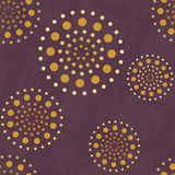 Seamless abstract pattern with golden spheres on violet background Royalty Free Stock Images