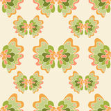 Seamless abstract pattern with green flowers Stock Image