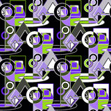 Seamless abstract pattern green, grey, white, lilac geometric shapes  Stock Images
