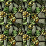 Seamless abstract pattern of green stones and emeralds. Green cracked rock structure with precious stones Royalty Free Stock Photography